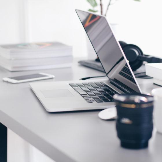 mint office furniture environment laptop