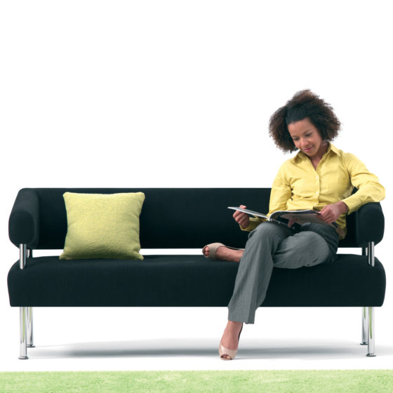 mint office furniture environment sofa woman